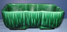 Vintage OMBRE Green PLANTER Roseville Ohio pottery  UPCO           by LavenderGardenCottage etsy