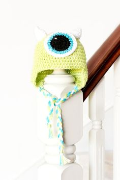 Monsters Inc. Mike Wazowski Inspired Baby Hat Crochet Pattern via Hopeful Honey