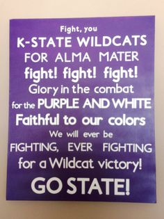 Kansas State Fight Song Subway Art, available on SweetBegonia.Etsy.com. Kansas State Wildcats K-State