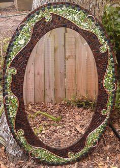 Large Green Mosaic Mirror Beautiful Round by PeacedTogetherGlass