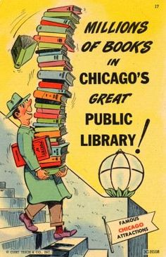 Chicago's Public Library by libraryhistorybuff #Illustration #Vintage #Library #Chicago