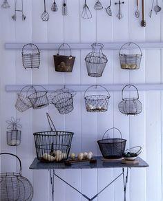 wire baskets, egg baskets