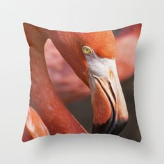 Decorative Throw Pillow Cover with Flamingo Photo on Etsy, $36.00