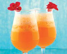 Cruzan Island Oasis ~ coconut rum, dark rum, pineapple juice, orange juice, mango juice and grenadine ~  recipes for cocktail size and make-ahead punchbowl size
