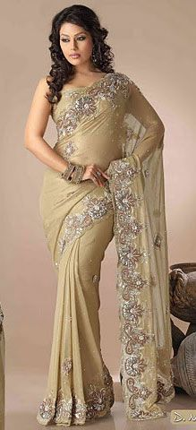beige color shimmer saree