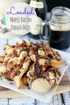 Loaded Maple Bacon Donut Fries | beyondfrosting.com | #donut #bacon