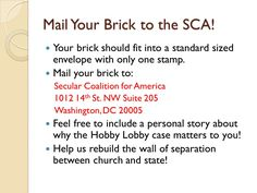 Mailing your brick to SCA!