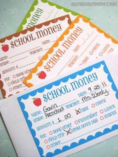 School Money Labels - Free Printable