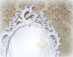 ORNATE WHITE MIRROR For Sale Baby Nnursery Decor by RevivedVintage, $164.00