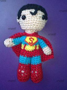 amigurumi superman superman hilo de algodón 100%,fibra,fieltro crochet amigurumi,amigurumi