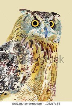 watercolor painting of bird, owl. I am author of this illustration by karakotsya, via ShutterStock
