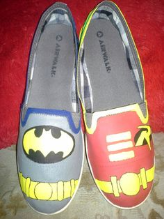 Batman and Robin Shoes by ScootShoes on Etsy, $30.00