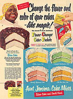 Aunt Jemima CAKE mix ad original vintage