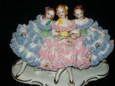 Antique German Porcelain Karl Klette Dresden Lace 3 Ballerinas Lady Figurine | eBay