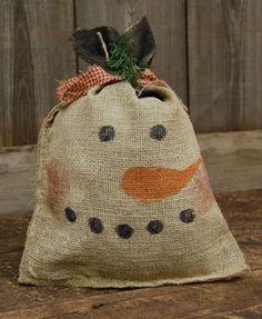 Burlap Snowman Bag - Small - Craft Wholesalers -- Use sunflower seed or feed bags ( white) and could add a scarf
