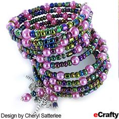 For an easy fashion statement bracelet, Memory Wire from eCrafty.com is the way to go.  Look what Cheryl dreamed up recently! Here are two Memory Wire bracelets that are sure to garner admirers! #memorywire #diy #crafts #beads #beading #diybracelet #memorywirebracelet #pearls #glasspearls #dragonfly #ecrafty