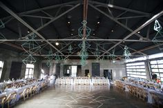 reception setting with geoemtric hangings