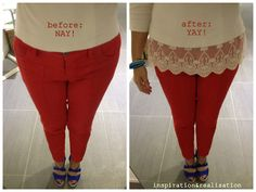 DIY: extra inches with lace.  Refashion a too short basic top with a lace hem...cute accent!