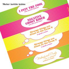 80s party quotable water bottle wrappers