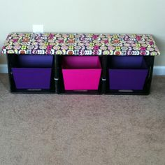 three milk crates tied together and topped with padded wooden seat. Add baskets for storage. from Clutter-Free Classroom: DIY Seating With Storage {Coffee and a Clever Idea}