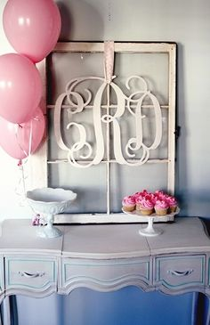 Cute set up for baby shower or even a bridal shower with couples monogram