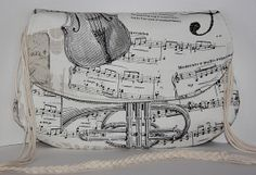 black white musical note and instruments print by leyyabags, $39.00