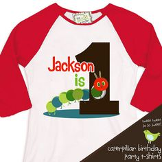 first 1st birthday very hungry caterpillar theme birthday party tshirt caterpillar  RAGLAN on Etsy, $22.50