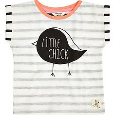 Mini girls white stripe little chick t-shirt £6.00
