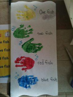 baths, hand prints craft, fish hand, preschool hands on activities, red fish, hand print crafts, craft ideas, dr seuss, blue fish