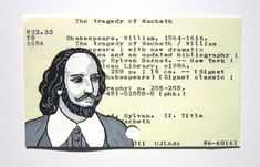 William Shakespeare Library Card Art by Vickie Moore on Etsy