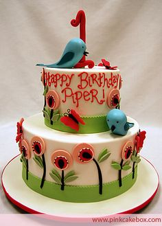 1st Birthday Birdy Cake