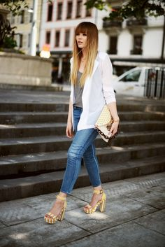 shoes, fashion styles, street styles, chiffon jacket, jeans, jackets, structur chiffon, kristina bazan, hair