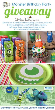Juicy Juice Monster University Birthday Party Giveaway! Get cute party ideas and a chance to win fun prizes to host your own party. LivingLocurto.com
