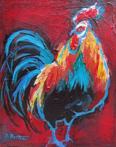 "Rooster, Original 8x10"" Acrylic Painting on  1.5"" thick stretched canvas. $85.00, via Etsy."