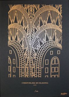 Chrysler Building print by Yoni Alter available at PrintforGood. Buy this and funds will be sent to ShelterBox. Their mission is to provide shelter, warmth and dignity to families who have been affected by disasters worldwide. crowns, art, buildings, alter chrysler, letterpress print, yoni alter, prints, chrysler building, build print
