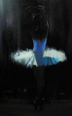 white ballerina print of my original oil painting  - black art print - Black and White Decor - dancer art print