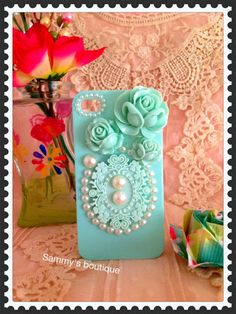 Rose, lace and pearl iphone case (back only)