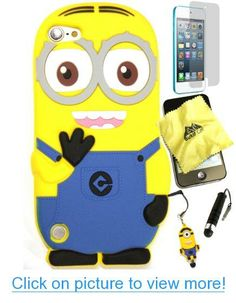 Bukit Cell ® Despicable Me Case Bundle - 5 items: Dave 3D Despicable Me Minion (Light Blue) Soft Silicone Case Cover for iPod Touch 5 5G 5th Generation   BUKIT CELL Trademark Lint Cleaning Cloth   Minion Figure Anti Dust Plug Stylus Touch Pen   Screen Protector   METALLIC Stylus Touch Pen with Anti Dust Plug