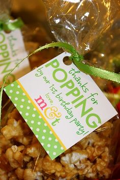 """""""popping"""" favor - cute idea for the church reception, put the bags by the popcorn bar and everyone can fill their own take home favor???"""