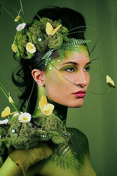 """Nature inspired fantasy make-up look with green gem accents. """"Fashion Inspired By Nature"""" by Davies , via Behance."""