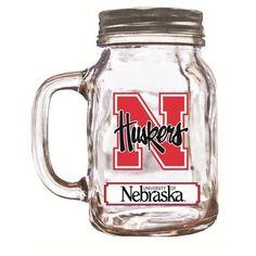 Nebraska Corn Huskers NCAA 16 oz Glass Mason Jar Mug