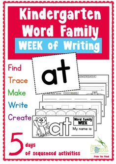 FREE Word Family 'at' week of writing! Printable Kindergarten Booklet