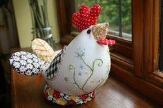 the running chicken quilting: Chicken pin cushion