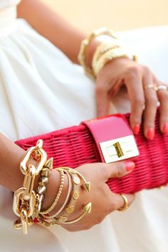 Big gold bangles stacked bracelet, purs, bangl, bag, clutch, fashion accessories, gold accents, arm candies, gold jewelry