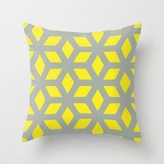 Amina - grey & yellow Throw Pillow bedroom redo, pillow quot, grey, yellow throw pillows, colleg