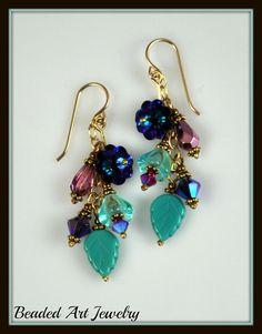 Beadwork, Beaded Crystal Flowering Vine Earrings