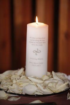 Memorial candle at wedding