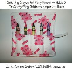 Oink Pig Crayon Roll Party Favour