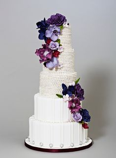 Elegant Wedding Cake with Ombre Purple Flowers & Pearls