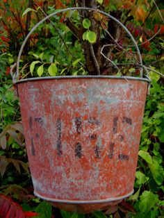 Vintage Fire Bucket Industrial Red Galvanized Metal by junquegypsy, $49.20